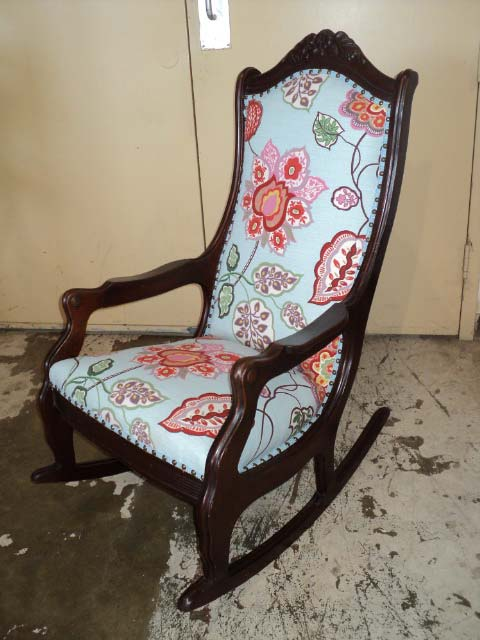 reupholstered antique rocking chair