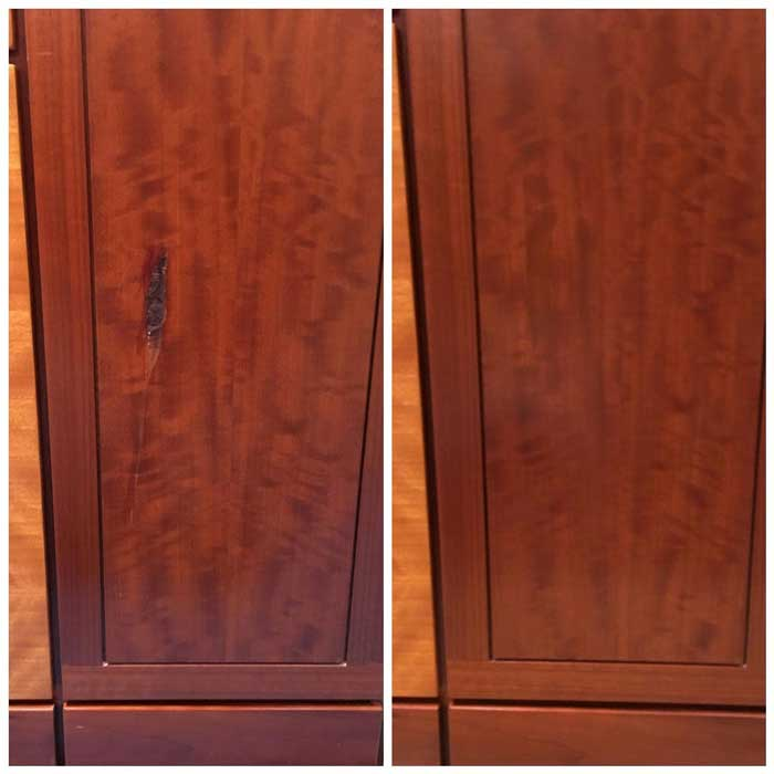 Repaired cabinet for a commercial business
