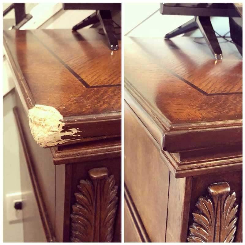 Repaired corner of desk