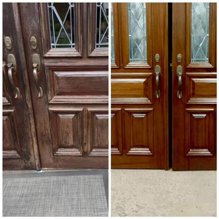 Repaired and refinished residential door