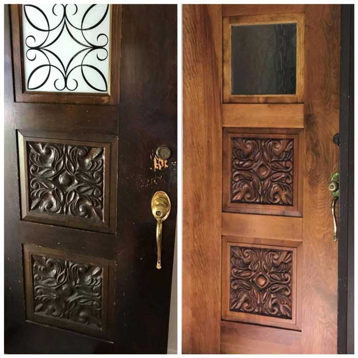 Refinished door before and after