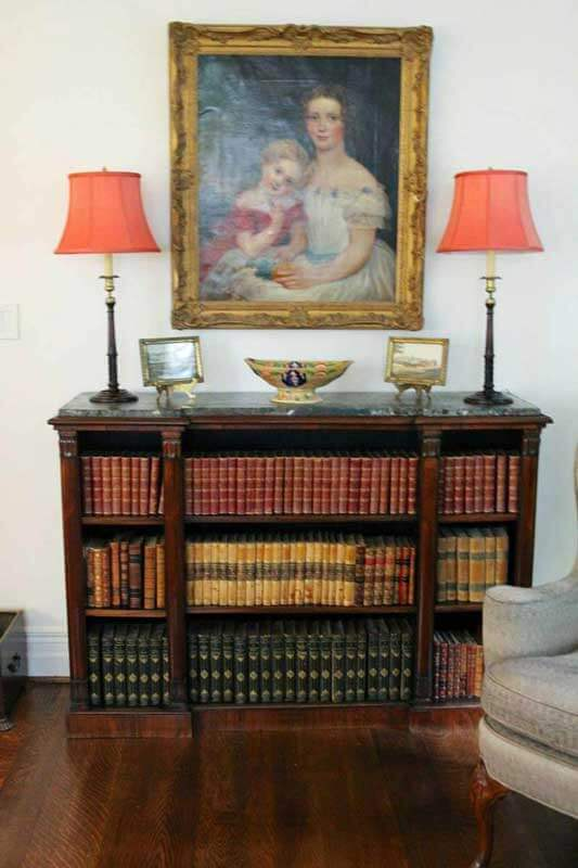 Refinished English Bookcase with marble top