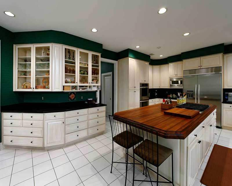Kitchen cabinets that are refinished with a custom glaze