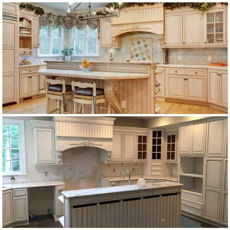 Custom glaze and repaint of kitchen cabinets