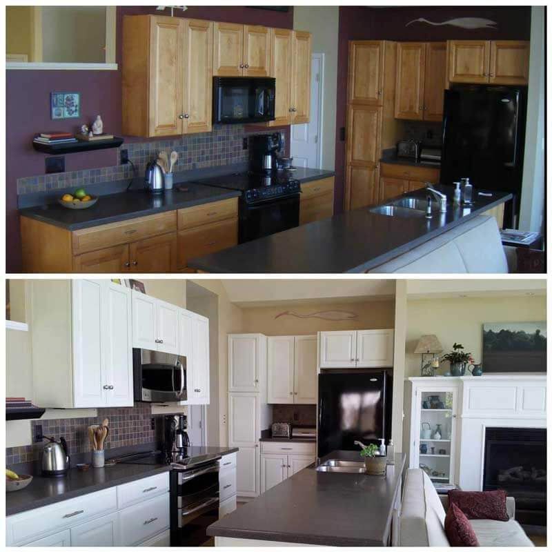 Before and after kitchen cabinets repainted