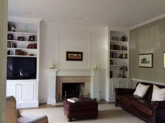 Repainted built-in bookcase in a living room