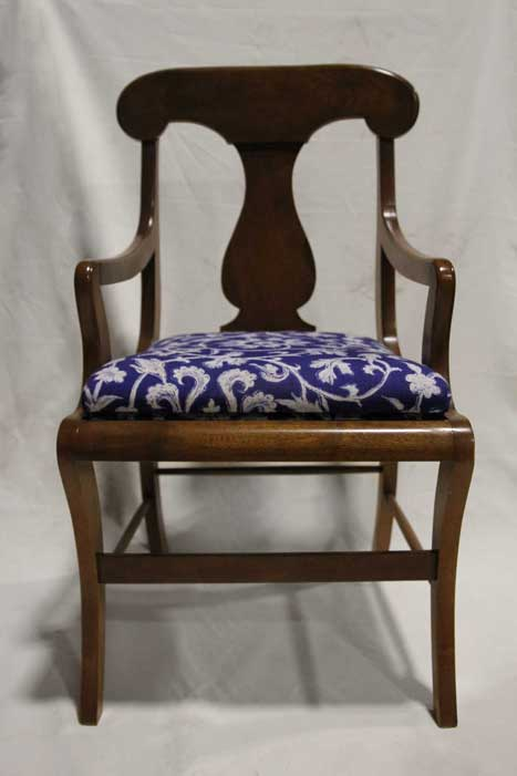 Reupholstered regency style dining chair