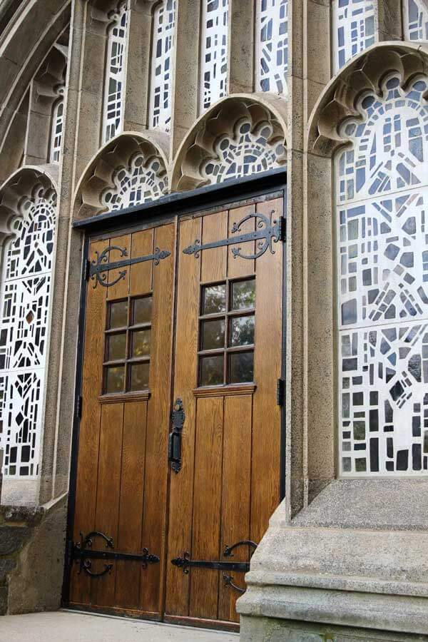 Refinished exterior doors at a theological college