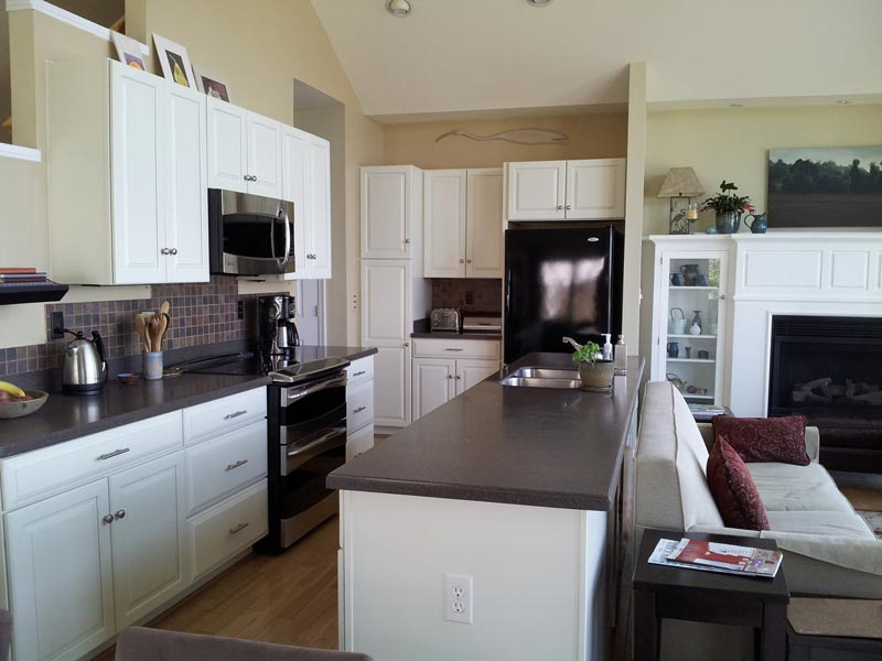 Maple kitchen cabinets after painting