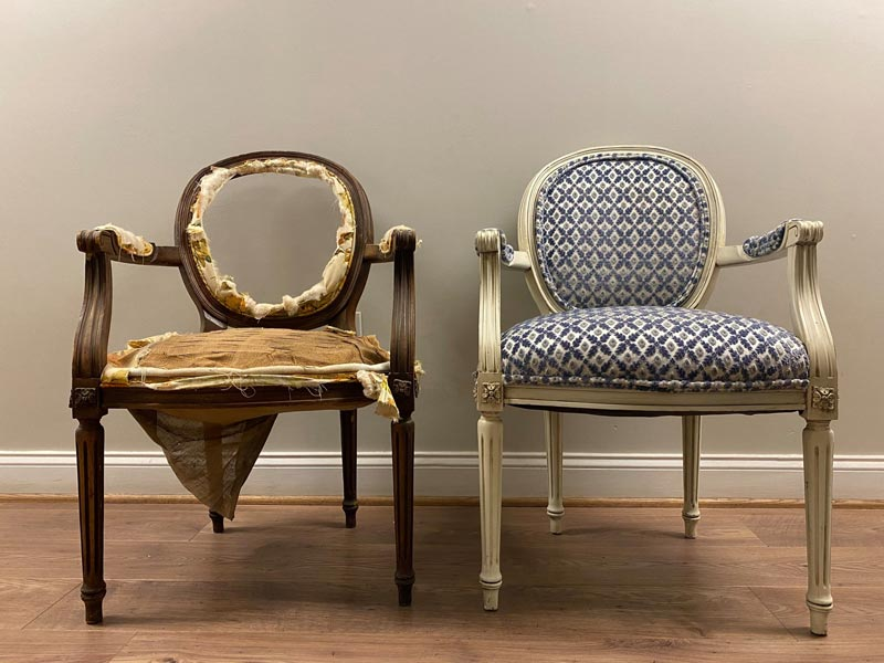 Before & After photo of reupholstered and custom finished chairs